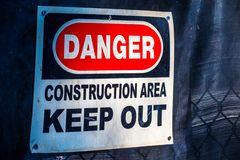 Danger Construction Area Keep Out stock image