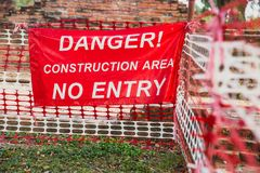 Free Danger Construction Area No Entry Warning Banner Royalty Free Stock Image - 109409096