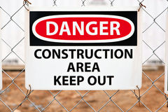Danger - Construction Area Sign Stock Photography