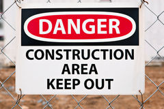 Danger - Construction Area Sign Royalty Free Stock Image