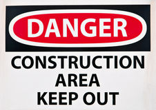 Danger - Construction Area Sign Royalty Free Stock Photos