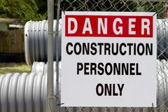 Danger Construction Personnel Only Stock Image