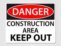 Danger construction sign on a grey background. Danger construction sign illustration stock illustration