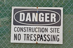 Danger, construction site, no trespassing as warning message, Royalty Free Stock Image