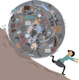 Danger of consumerism. Scared woman running from a huge rolling ball of possessions, EPS 8 vector illustration, no transparencies Royalty Free Stock Photos