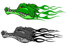 Danger crocodile tattoo. With tribal flames for mascot design royalty free illustration