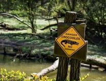 Danger crocodiles. No swimming - warning sign Stock Photos