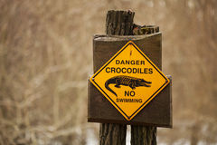 Danger  crocodiles sign. Danger  crocodiles, no swimming sign Stock Images