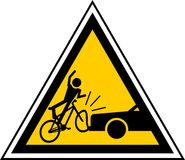 Danger cyclists. Caution signal of proximity cyclists Royalty Free Stock Photos