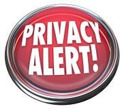Danger d'avertissement de lumière vigilante du bouton 3d rouge d'intimité Photographie stock
