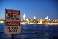 Danger de l'eau de New York Photos libres de droits