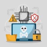 Danger de pirate informatique d'intimité d'ordinateur portable illustration de vecteur