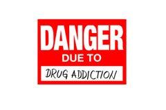 Danger de signe dû à la toxicomanie sur le blanc illustration de vecteur