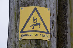 Danger of death sign. On electricity pole Royalty Free Stock Photo