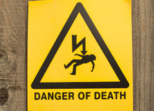 Danger of death sign Stock Images