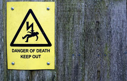 Danger of Death Sign on Wood Stock Photography