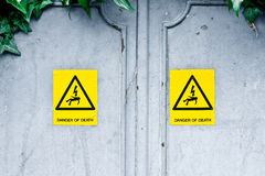 Danger of death. Stickers on an electric cabinet Royalty Free Stock Image