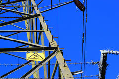 Danger of death on Transmission tower. Royalty Free Stock Photo