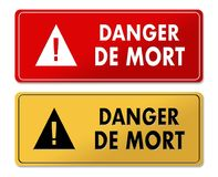 Danger of Death warning panels in French translation Royalty Free Stock Photos