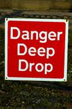 Danger Deep Drop 01. A danger sign signifying a deep drop into a dry dock at Liverpool's water-front Royalty Free Stock Image
