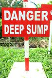 Danger Deep Sump signage Stock Image