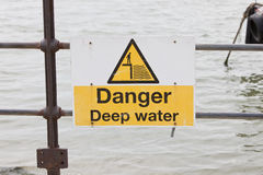Danger deep water sign Royalty Free Stock Photography