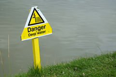 Danger deep water sign on golf course pond. Royalty Free Stock Images