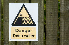 Danger deep water sign Royalty Free Stock Photos