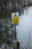 Danger deep water sign. Modern plastic yellow warning sign informing that there is deep water present Royalty Free Stock Images