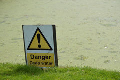 Danger deep water sign. Modern yellow danger deep water warning sign Royalty Free Stock Images