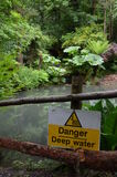 Danger deep water sign. Royalty Free Stock Photos