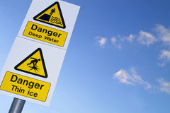 Danger, deep water and thin ice. Signs Royalty Free Stock Images