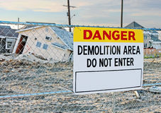 Danger Demolition Sign. Danger demolition area sign warning people not to enter Royalty Free Stock Photography