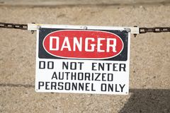 Danger Sign. Danger do not enter authorized personnel only sign royalty free stock photography