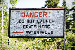 A danger do not launch boats sign.  royalty free stock photography