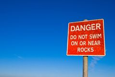 Danger - Do not swim sign Stock Photo