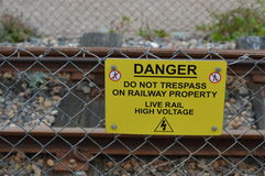 Danger Do Not Trespass Teken Stock Afbeelding