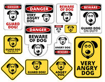 Danger. Dog Signs Humorous Comic Labels and Plates Collection. Vector EPS8 set Stock Photography