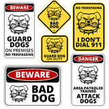 Danger. Dog Signs Labels Collection. Vector EPS8 set Stock Photos