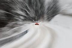 Danger driving at the snow road Royalty Free Stock Photography