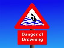 Danger of drowning sign. On blue illustration Stock Photo