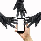 Danger du vol de données du smartphone Photographie stock
