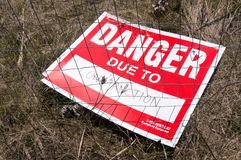 Danger Due to Construction Sign Royalty Free Stock Photography