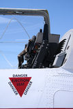 Danger: Ejector Seat. Fighter jet ejector seat and open canopy Royalty Free Stock Photography