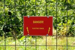 Danger electric fence. Danger warning on electric fence Stock Image
