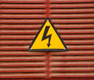 Danger 007. Electric hazard sign placed on electric chargers in the island of Majorca, Spain royalty free stock images