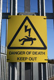 Danger of electric shock sign stock photos