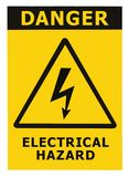 Danger Electrical Hazard Sign With Text Isolated Stock Photography