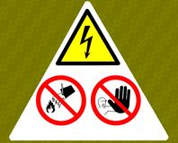 Danger electricity warning sign. Don`t touch, don`t throw water, no trespassing. vector illustration