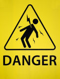 Danger of electrocution sign. A black and yellow warning sign, indicating the danger of electrocution Royalty Free Stock Images